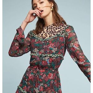 Anthro Scotch and soda  Leopard & lilies dress